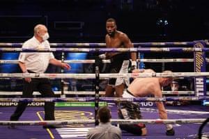 Lawerence Okolie knocks down Nikodem Jezewski for the second time.