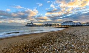 Eastbourne beach with its gold-domed pier.