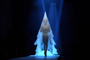 A Jean Paul Gaultier wedding dress creation during the F/W 19/20 Haute Couture collection fashion show