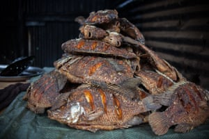 Fried fish on the streets of Kibera, Nairobi. Fish is widely available but expensive and, without refrigeration, tricky to store for both sellers and buyers