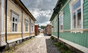 Old wooden houses in Rauma Finland