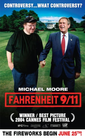 The poster for Fahrenheit 9/11, the biggest-grossing documentary film ever made.