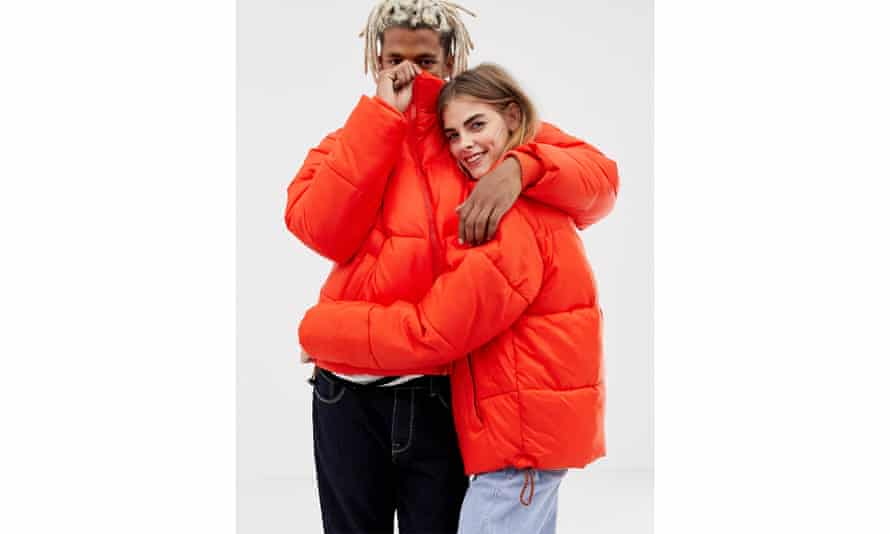 Collusion unisex puffer jacket in red,
