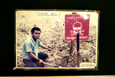 Aki Ra in his early mine and bomb clearing days in Cambodia.