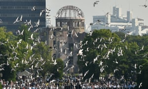 Doves were released over the Hiroshima peace memorial park during Thursday's ceremony.