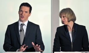 Then chancellor George Osborne speaks during a Conservative press conference with Theresa May in 2015.