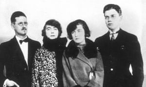 The Joyces in Paris, 1924. From left, James, Nora, and their children, Lucia and George.
