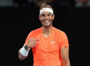 Rafael Nadal acknowledges a fan.