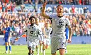 Ben Wilmot celebrates scoring Swansea's winner