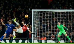 Arsenal's Pierre-Emerick Aubameyang just misses with his acrobatic effort.