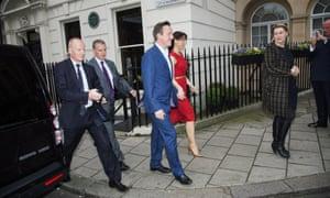 David and Samantha Cameron arrive at Mark's club, Mayfair.