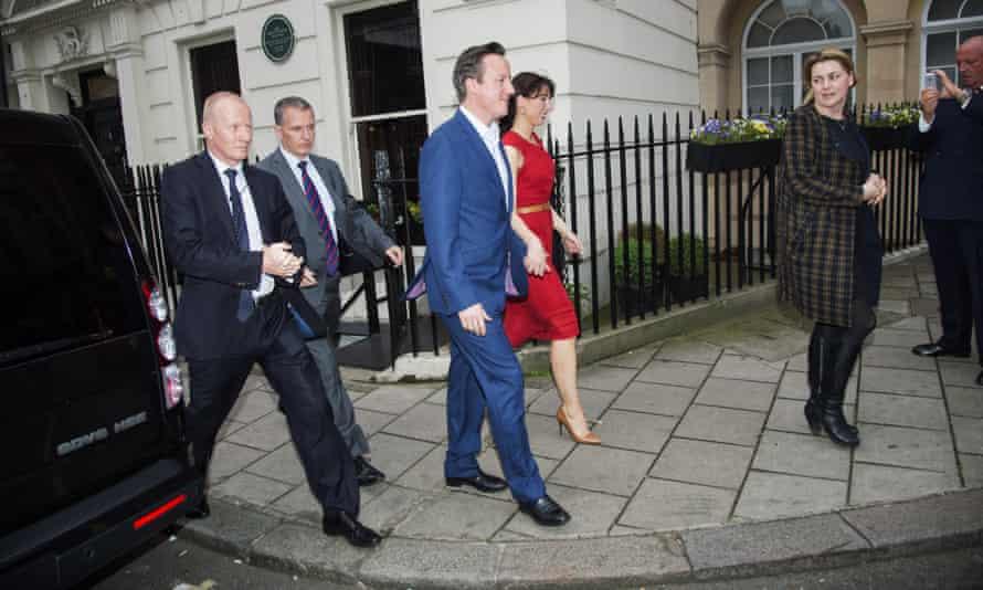 David Cameron and Samantha Cameron arrive at Mark's Club.