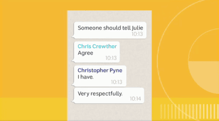 Screengrab from ABC Insiders of leaked WhatsApp chat from Liberal MPs regarding not voting for Julie Bishop in the recent Australia leadership spill. 26/08/2018