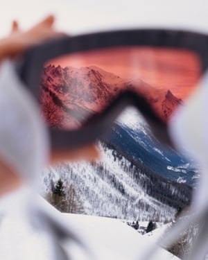 Looking at the mountains through ski goggles