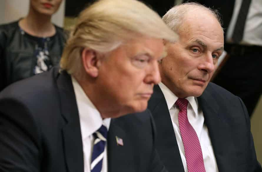 US homeland security secretary John Kelly and President Donald Trump meet government cyber security experts in January.