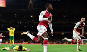 Eddie Nketiah celebrates scoring Arsenal's late equaliser against Norwich City.