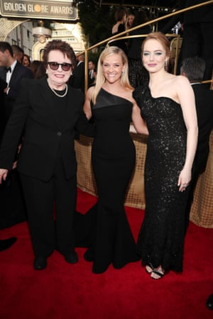 Activist Billie Jean King and actors Reese Witherspoon and Emma Stone arrive to the 75th Annual Golden Globe Awards