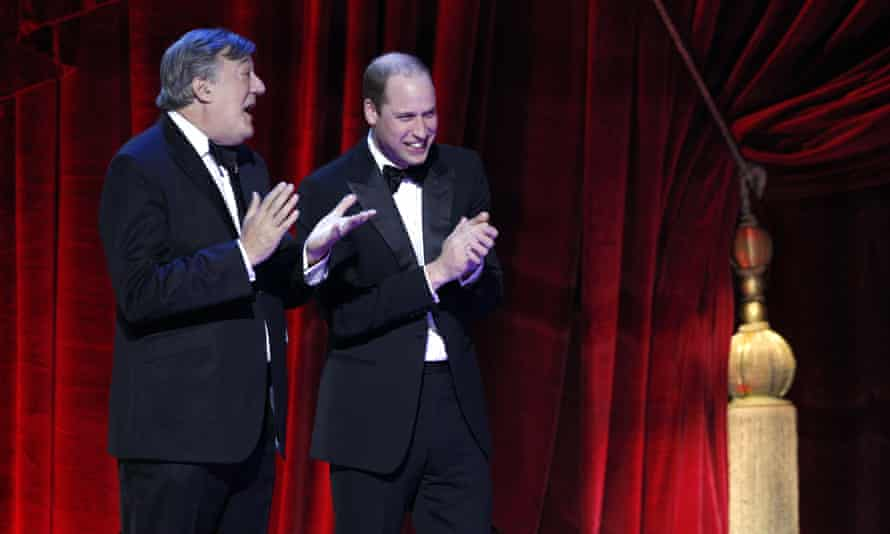 Stephen Fry and Prince William onstage
