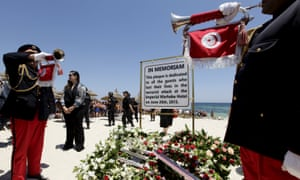 A plaque dedicated to the Tunisia shooting victims at the beach where the attack took place.