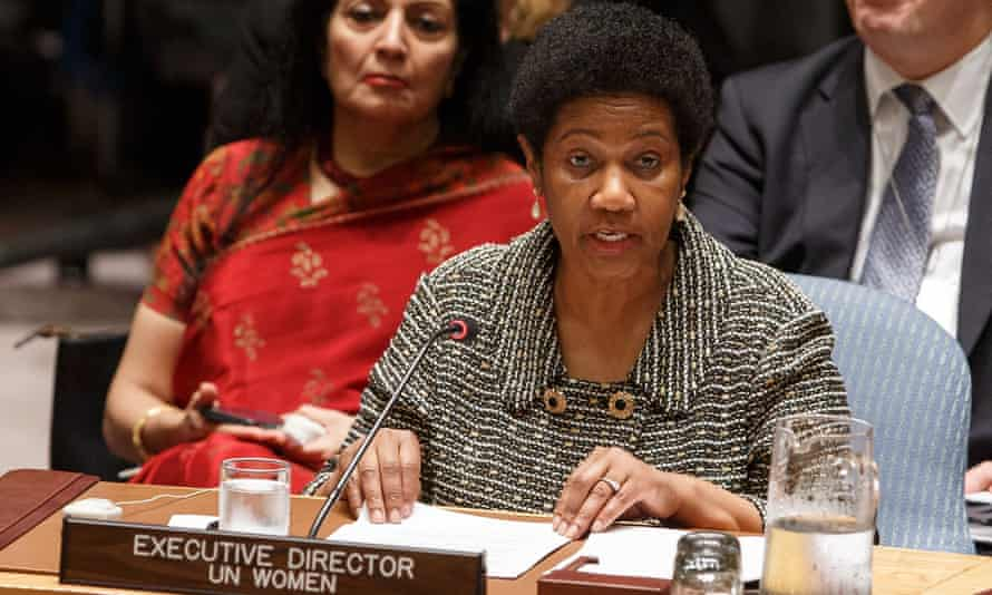 UN Women head Phumzile Mlambo-Ngcuka addresses the Security Council at the UN headquarters in New York.