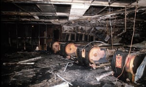 The burnt-out remains of the ticket hall following the Kings Cross fire in 1987.