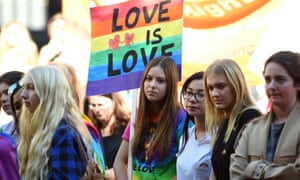 Supporters attend a marriage equality rally in Sydney