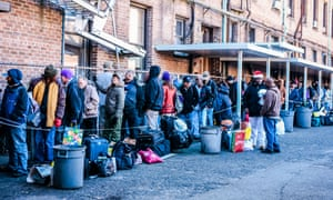 Homeless men in New Orleans. Research has found we tend to believe others are responsible for their own circumstances, rather than the odds are stacked against them.