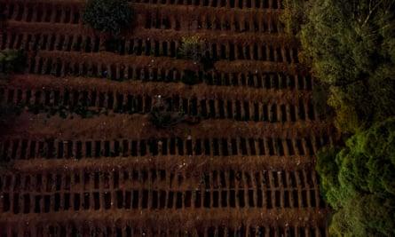 An aerial view of Vila Formosa cemetery in São Paulo.