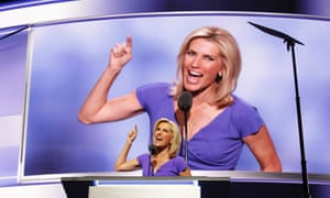 Political talk radio host Laura Ingraham delivers a speech on the third day of the Republican National Convention on 20 July 2016.
