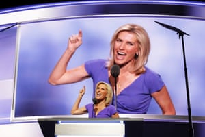 Laura Ingraham delivers a speech in Cleveland, Ohio on 20 July 2016