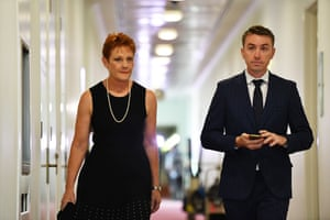 The One Nation leader, Pauline Hanson, and adviser James Ashby after a press conference at parliament