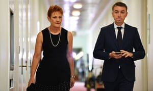 Pauline Hanson and One Nation adviser James Ashby leave a press conference at Parliament House in February.