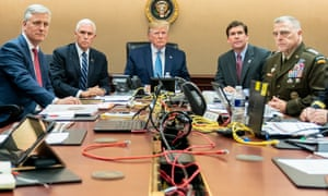 Donald Trump monitors developments in Syria from the Situation Room of the White House.