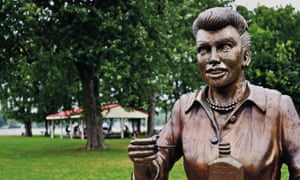 A bronze sculpture of Lucille Ball is displayed in Lucille Ball Memorial Park in the village of Celoron in a 2012 photo.