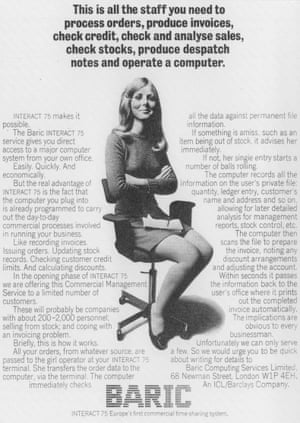A 1970 advertisement for an ICL timesharing system foregrounds the inexpensive labor that can be employed to run this powerful system rather than showing the machines.