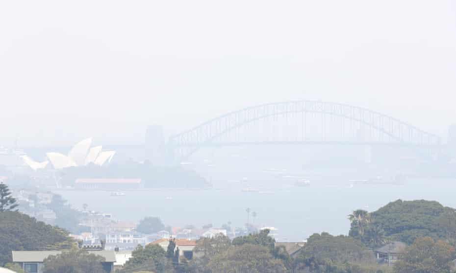 Smoke haze from wildfires fills the skyline in Sydney