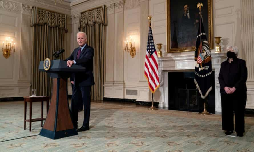 Joe Biden speaks on the relief pacakge withthe US treasury secretary, Janet Yellen, on Friday.