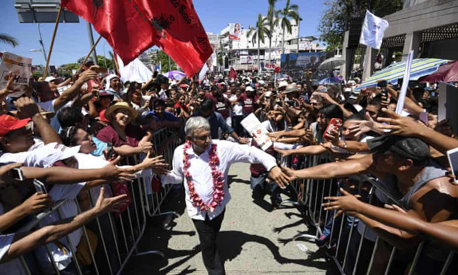 Andrés Manuel López Obrador is greeted by supporters during a campaign rally in Acapulco, Guerrero state, Mexico, on Monday.
