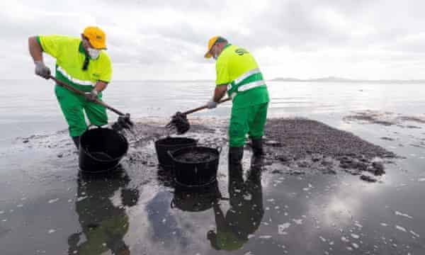 Municipal workers clean the beach at Los Urrutias in Mar Menor earlier this year.