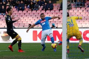 Napoli's Faouzi Ghoulam shoots at goal.