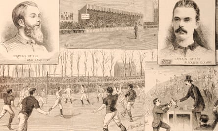 A montage of illustrations from the 1883 match between Blackburn Olympic and the Old Etonians at the Kennington Oval in London.