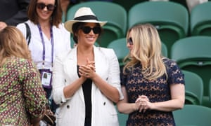 The Duchess of Sussex watches on during the ladies' Singles Second round match between Serena Williams of The United States and Kaja Juvan of Slovenia in 2019