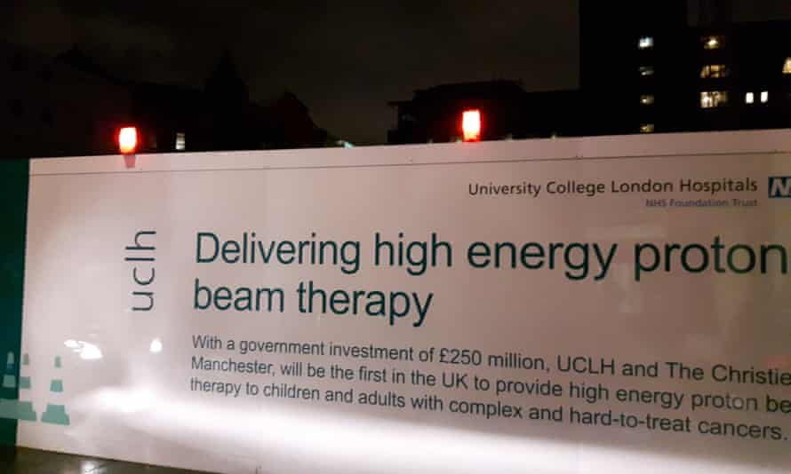 Hoarding at the building site on Grafton Way, London, where a new proton therapy centre is under construction by the NHS for UCLH