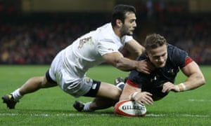 Hallam Amos of the Dragons scores Wales' try against Georgia in their narrow win at the Principality Stadium