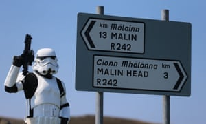 Star Wars filming - JJ McGettigan from the Emerald Garrison, a star Wars costuming club, in Malin Head, Co Donegal Ireland, as filming for the next Star Wars movie will take place there.