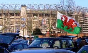 A Welsh flag outside Twickenham stadium