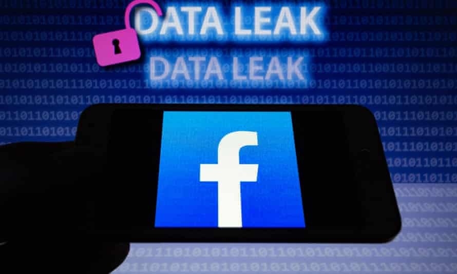 A Facebook logo with the words 'Data Leak' above it and a symbol of an open padlock.