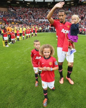 Ferdinand and his children at Old Trafford for his 2013 testimonial.
