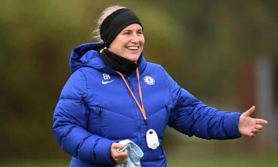 Emma Hayes, pictured here at a Chelsea training session, says: 'I just don't know why anyone would ever think that women's football is a step down.'