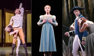 Left to right: Edward Watson and Natalia Osipova in Mayerling, Sarah Lamb in Romeo and Juliet and William Tuckett in Manon.